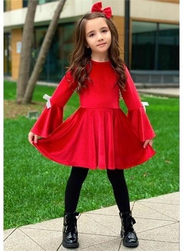 Riccotarz Kız Çocuk Volanlı Kurdale Detaylı Kadife Elbise Kırmızı